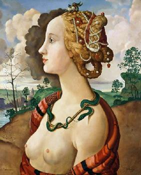 Copy of Simonetta Vespucci (1453-76) by Sandro Botticelli (1444/5-1510) (oil on canvas) 1919