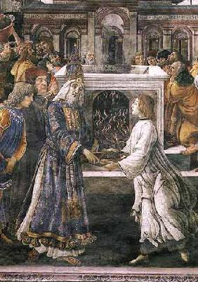 The Purification of the Leper and the Temptation of Christ, in the Sistine Chapel: detail of the pur 1481
