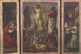 Triptych showing the Transfiguration, Jesus Appearing to his Disciples with SS. Jerome and Augustine