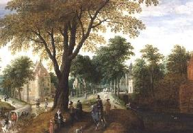 Elegant Horsemen and figures on a path in front of a chateau