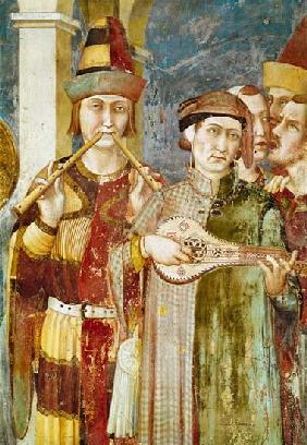 Detail of musicians from the Life of St. Martin c.1326