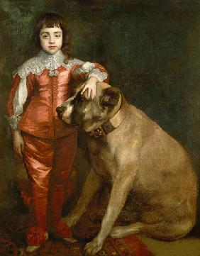 Full length portrait of Charles II as a boy with a mastiff