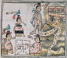 Ms Palat. 218-220 Book IX Aztecs consulting and following a map, from the ''Florentine Codex'' by Be