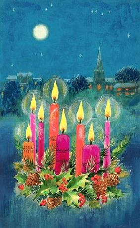 Christmas Candles (gouache)