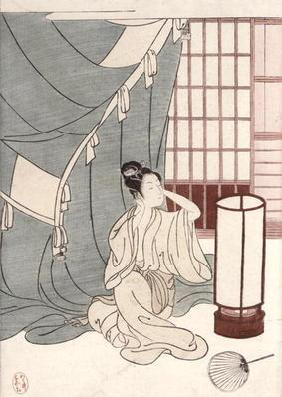 Young woman kneeling by her mosquito net, 1766 (colour woodblock print) 18th