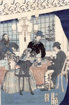 The salon of a house of foreign merchants at Yokohama, 1861 (colour woodblock print) 17th