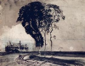 Landscape with Three Trees, 1850 (charcoal, pen & india ink and wash on paper)