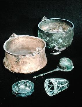 Selection of funerary goods including two cauldrons, from Sweden