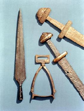 Viking swords, stirrup and spearhead (details) 17th