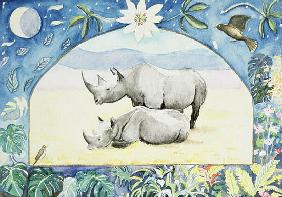 Rhino (month of February from a calendar)