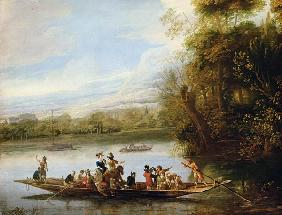 A landscape with a crowded ferry crossing the water in the foreground