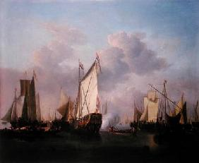A States yacht and other Vessels in a very light air c.1655