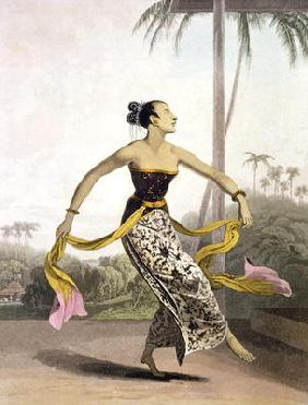 A Ronggeng or Dancing Girl, plate 21 from Vol. I of 'The History of Java' by Thomas Stamford Raffles 1608
