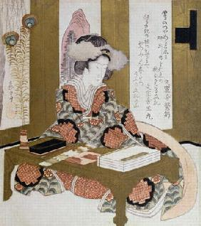 The Poetess, Bijin, at her Calligraphy Table (colour woodblock print) 12th